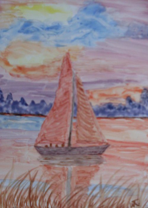 Seashore Sailboat Sunset Watercolor Greeting Card featuring the painting Peaceful Sailing by Warren Thompson
