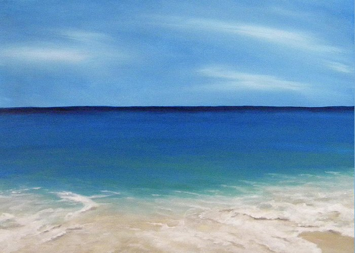 Beach Greeting Card featuring the painting Peaceful Sands by JoAnn Wheeler