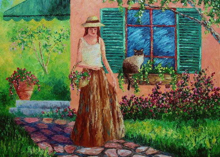 Woman Greeting Card featuring the painting Peaceful Thoughts by David G Paul