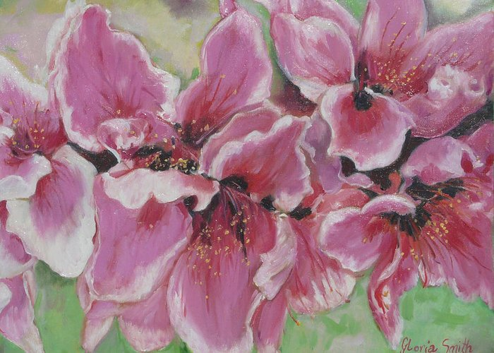 Peach Blossoms Greeting Card featuring the painting Peach Blossoms by Gloria Smith