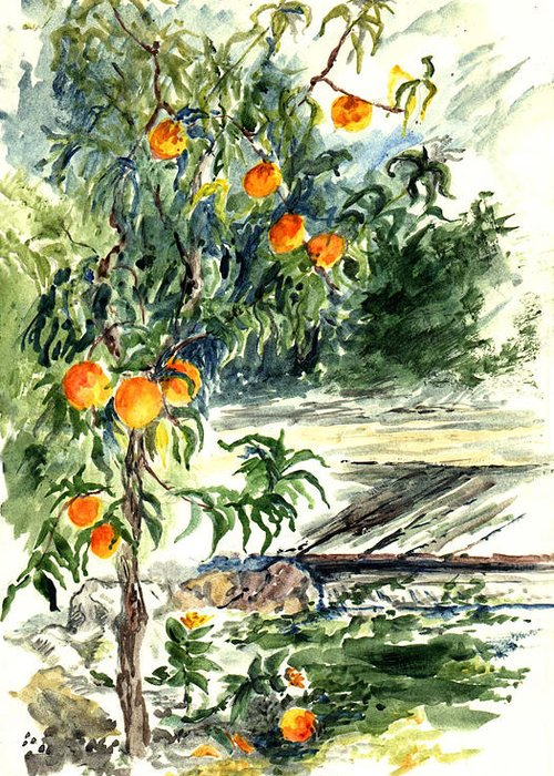 Landscape Greeting Card featuring the painting Peach Tree by Lily Hymen