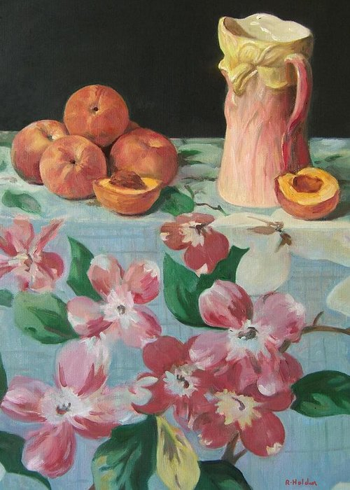 Peaches Greeting Card featuring the painting Peaches On Floral Tablecloth by Robert Holden