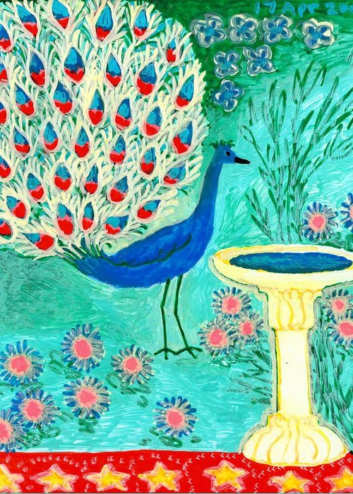 Sue Burgess Greeting Card featuring the painting Peacock And Birdbath by Sushila Burgess