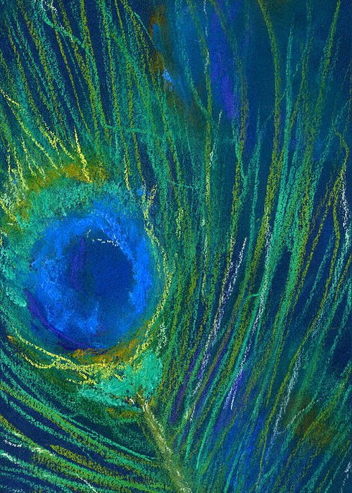 Peacock Greeting Card featuring the pastel Peacock Feather by Marilyn Barton