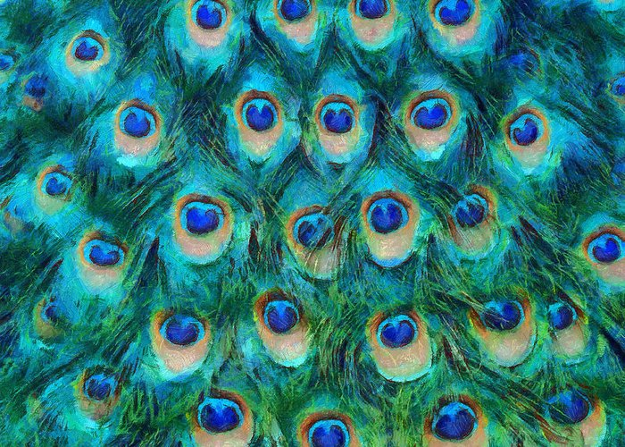 Peacock Greeting Card featuring the mixed media Peacock Feathers by Nikki Marie Smith