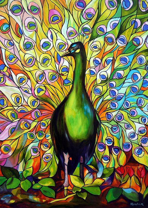Bird Greeting Card featuring the painting Peacock by Jose Manuel Abraham