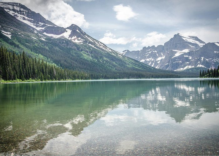 Glacier Greeting Card featuring the photograph Peaks At Lake Josephine by Margaret Pitcher