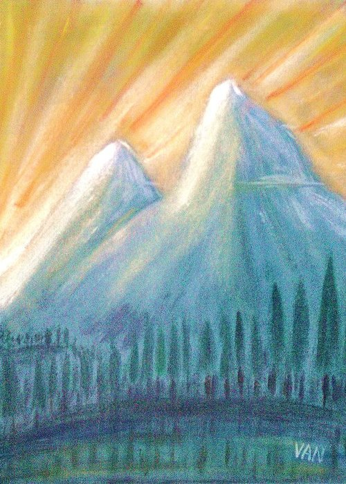 Mountains Greeting Card featuring the painting Peaks At Sunrise by Van Winslow