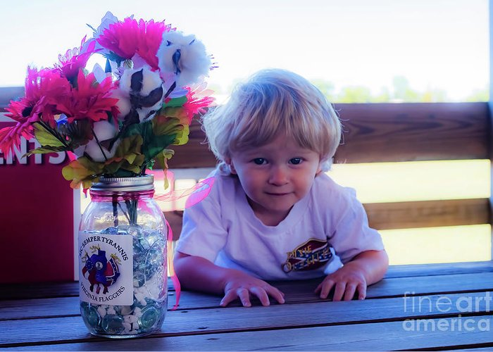 Young Male Child Greeting Card featuring the photograph Peanut At 6th Anniversary Va Flaggers 4933 by Doug Berry