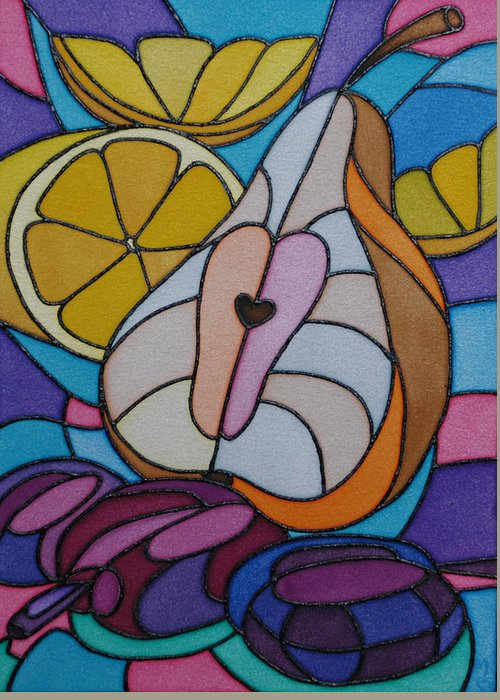 Still Life Greeting Card featuring the painting Pear And Plums by Tatiana Antsiferova