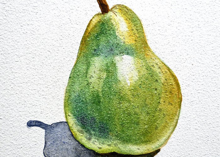 Pear Greeting Card featuring the painting Pear by Irina Sztukowski