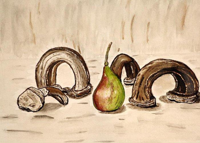 Pear Watercolor Painting Paint Artwork Jar Greeting Card featuring the painting Pear Near Ancient Handle Jar. by Shlomo Zangilevitch