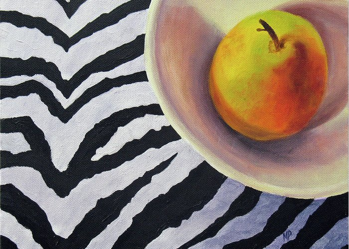 Still Life Greeting Card featuring the painting Pear On Zebra by Marina Petro