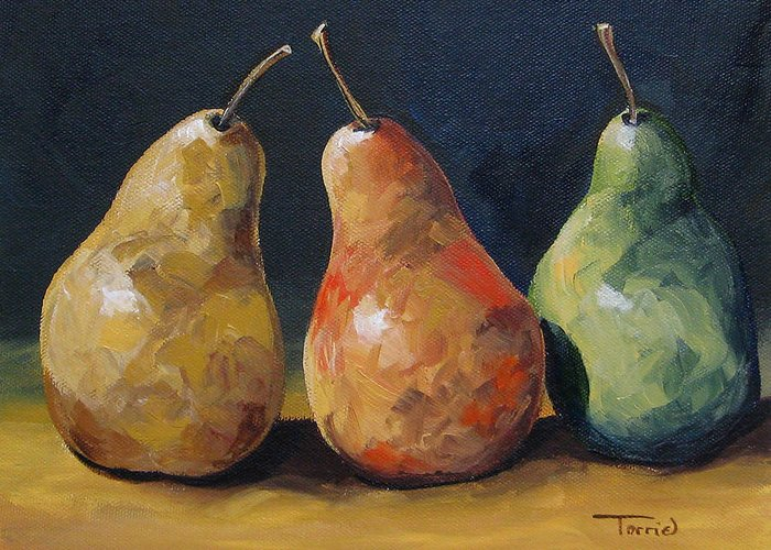 Pear Greeting Card featuring the painting Pear Trio by Torrie Smiley