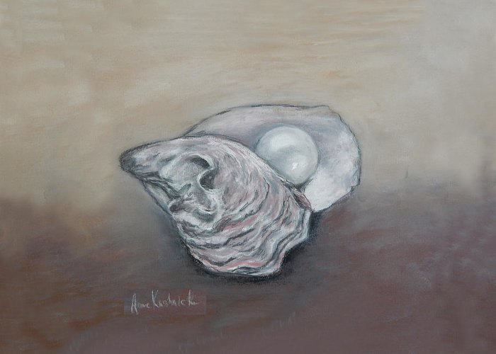 Oyster Greeting Card featuring the drawing Pearl by Anne Kushnick