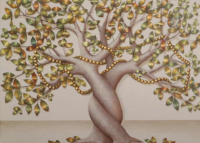 Tree Greeting Card featuring the painting Pearl Tree by Sobobak