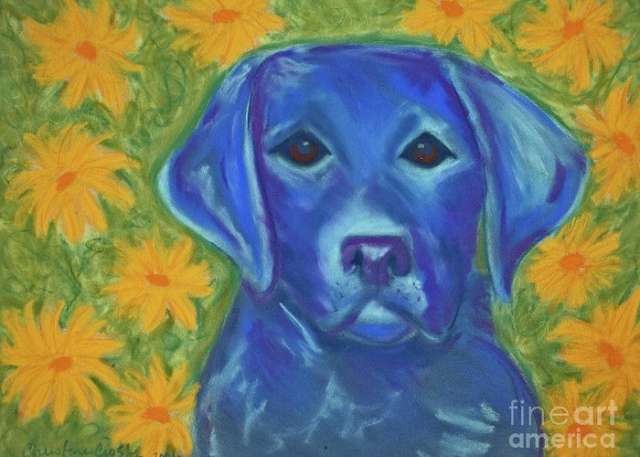 Blue Dog Greeting Card featuring the pastel Pearlie In Flowers by Christine Crosby