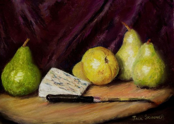 Still Life Greeting Card featuring the pastel Pears And Cheese by Jack Skinner