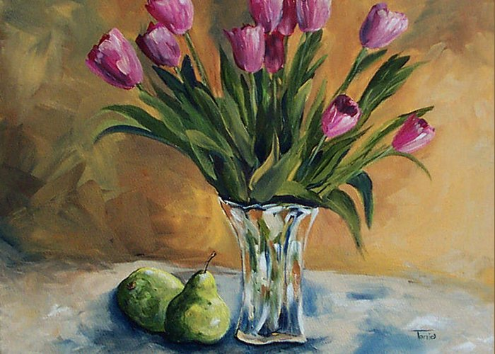 Tulips Greeting Card featuring the painting Pears And Pink Tulips by Torrie Smiley