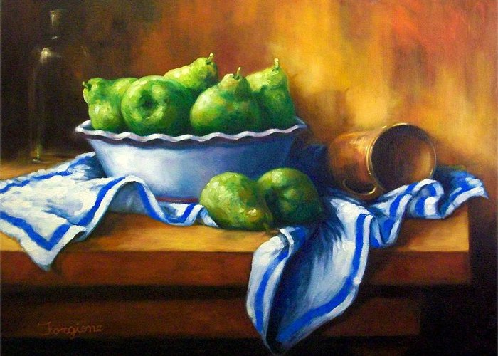 Pears Greeting Card featuring the painting Pears In A Bowl by Tom Forgione