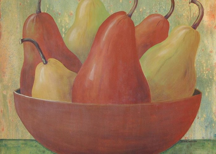 Pears Greeting Card featuring the painting Pears In Copper Bowl by Jeanie Watson