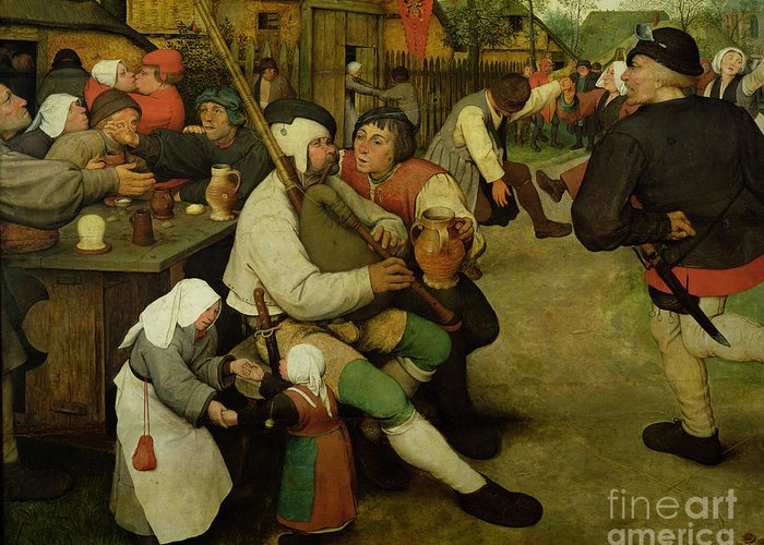 Peasant Greeting Card featuring the painting Peasant Dance by Pieter the Elder Bruegel