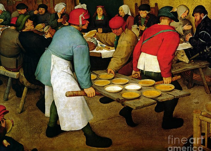 Peasant Greeting Card featuring the painting Peasant Wedding by Pieter the Elder Bruegel