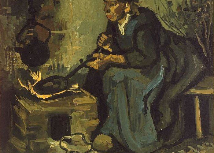 Beautiful Greeting Card featuring the painting Peasant Woman Cooking By A Fireplace by Artistic Panda
