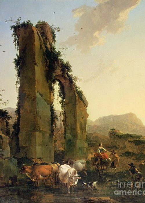 Peasants Greeting Card featuring the painting Peasants With Cattle By A Ruined Aqueduct by Nicolaes Pietersz Berchem