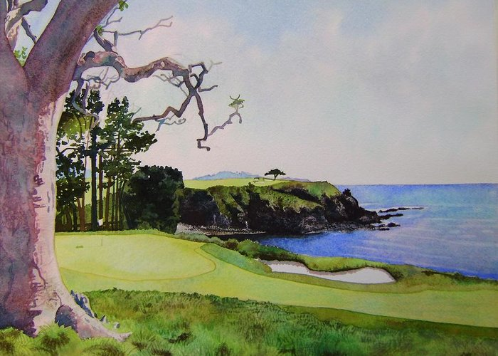 Landscape Greeting Card featuring the painting Pebble Beach Gc 5th Hole by Scott Mulholland