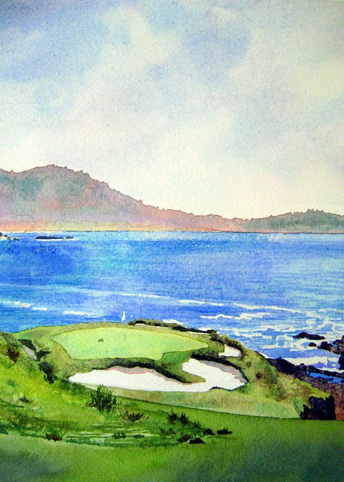 Transparent Watercolor Landscape Pebble Beach Golf Course 7th Hole. Us Open Ocean Marine Seascape At&t Pebble Beach Pro-am Greeting Card featuring the painting Pebble Beach Gc 7th Hole by Scott Mulholland