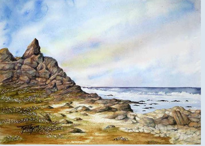 Ocean Greeting Card featuring the painting Pebble Beach by Travis Kelley