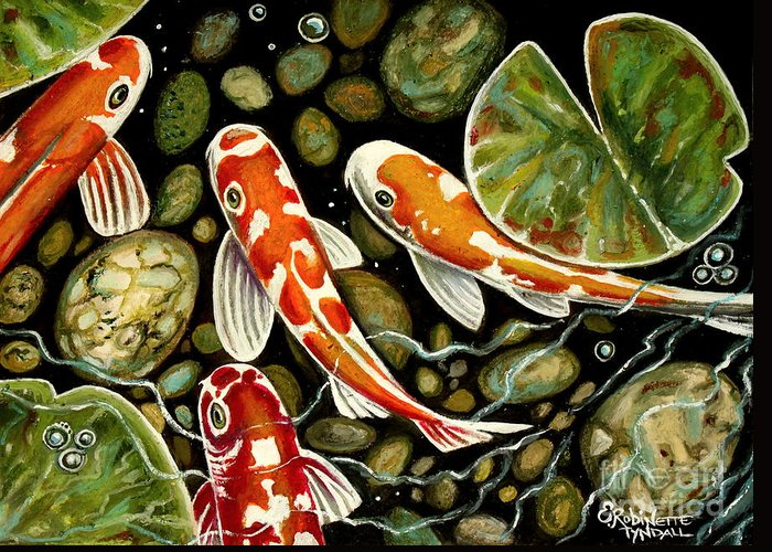 Koi Fish Greeting Card featuring the painting Pebbles And Koi by Elizabeth Robinette Tyndall