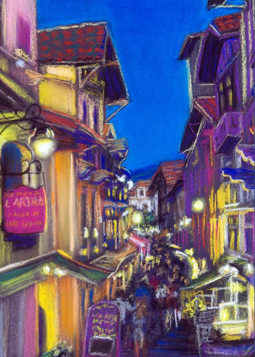 Cityscape Greeting Card featuring the pastel Pedestrian Street by Aymeric NOA