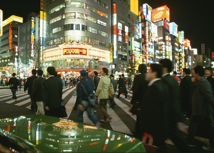 Asia Greeting Card featuring the photograph Pedestrians Cross A Crowded Tokyo by Justin Guariglia