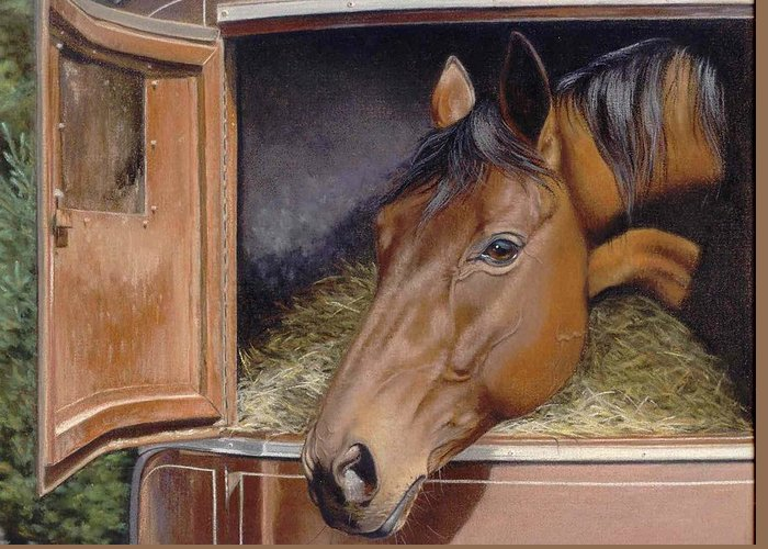 Horse Greeting Card featuring the painting Peekin... by Deb Owens-Lowe