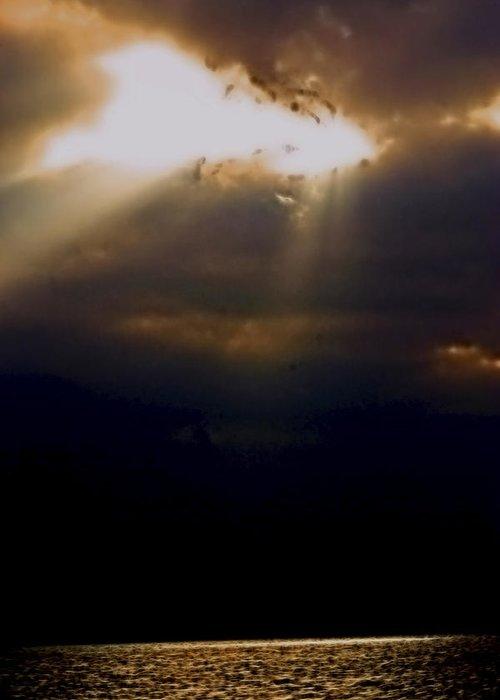 Sunrise Greeting Card featuring the photograph Peeking Thru by Marshall Barth
