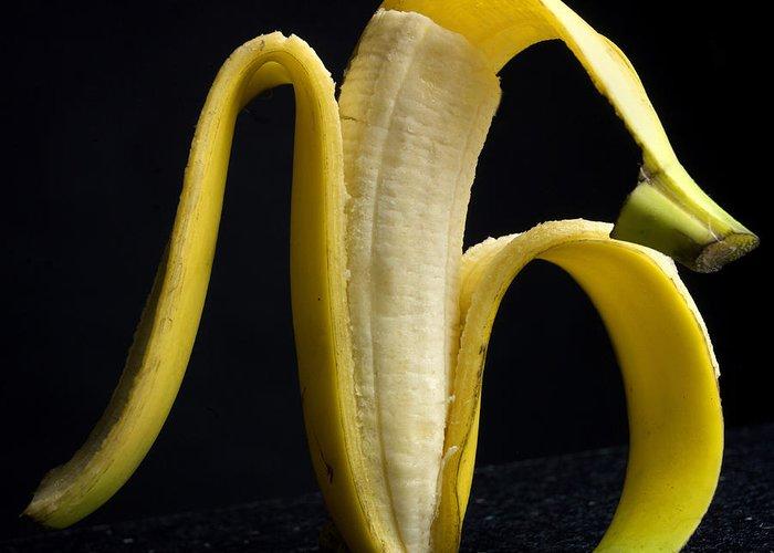 Studio Greeting Card featuring the photograph Peeled Banana. by Bernard Jaubert