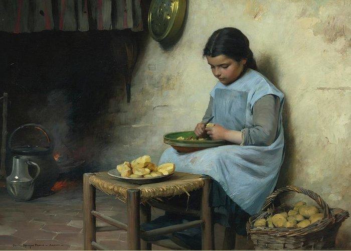 Charles Sprague Pearce 1851 - 1914 Peeling Potatoes Greeting Card featuring the digital art Peeling Potatoes by Mark Carlson