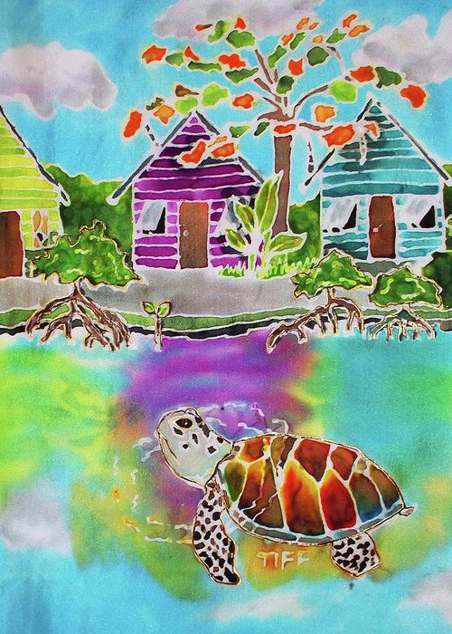 Bahamas Art Greeting Card featuring the painting Peepin Tom by Tiff