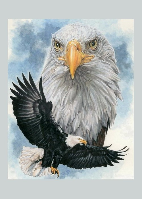 Bald Eagle Greeting Card featuring the mixed media Peerless by Barbara Keith