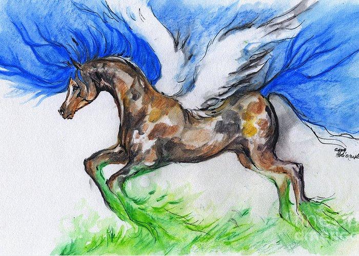 Horse Greeting Card featuring the drawing Pegasus by Angel Ciesniarska