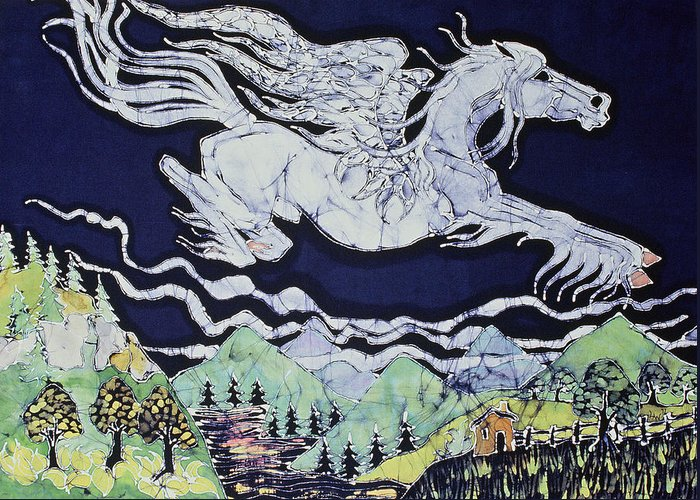 Fantasy Greeting Card featuring the tapestry - textile Pegasus Flying Over Stream by Carol Law Conklin