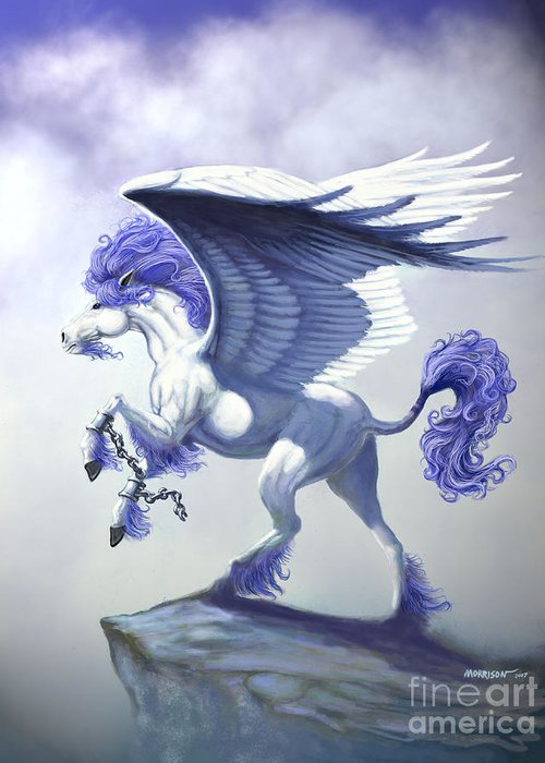Pegasus.fantasy Greeting Card featuring the digital art Pegasus Unchained by Stanley Morrison