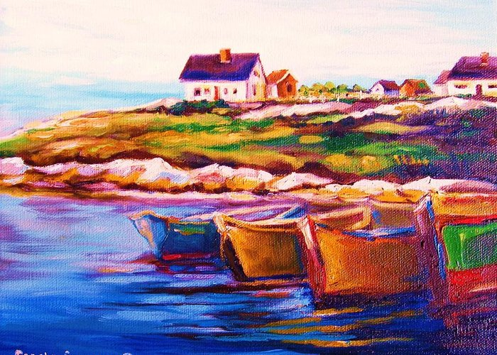 Row Boats Greeting Card featuring the painting Peggys Cove Four Row Boats by Carole Spandau
