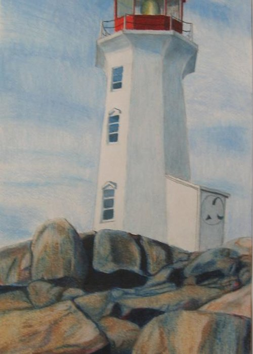 Landscape Greeting Card featuring the drawing Peggys Cove Lighthouse by Matthew Handy