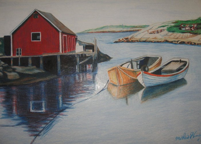 Seascape Greeting Card featuring the drawing Peggys Cove by Matthew Handy