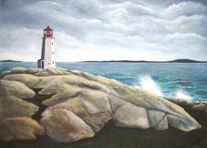 Original Painting Of Lighthouse Greeting Card featuring the painting Peggys Light Nova Scotia by Sharon Steinhaus