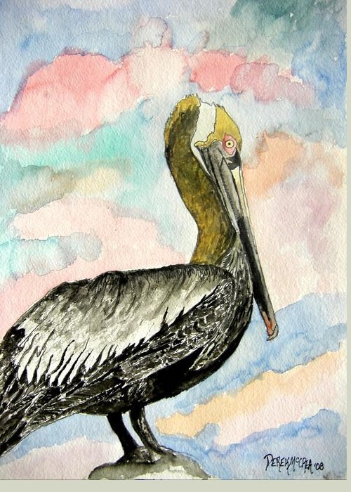 Watercolor Greeting Card featuring the painting Pelican 2 by Derek Mccrea