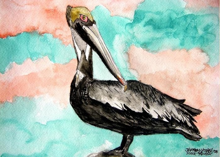 Bird Greeting Card featuring the painting Pelican 3 by Derek Mccrea